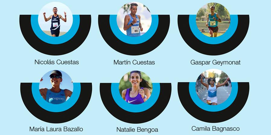 La selección uruguaya para el Sudamericano de Medio Maratón